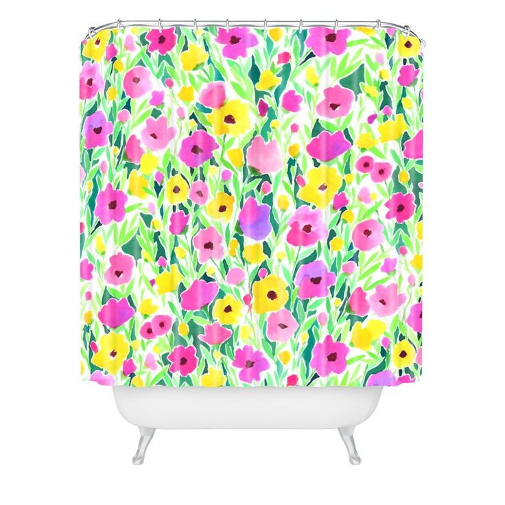 Jacqueline Maldonado Flower Field Pink Yellow Shower Curtain | DENY Designs Home Accessories