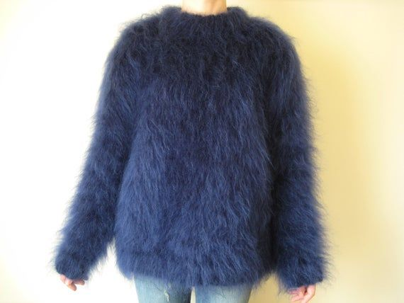 New hand knitted Denim Blue mohair+alpaca 5 strands  thick long cardigan coat  size XL Made to Order