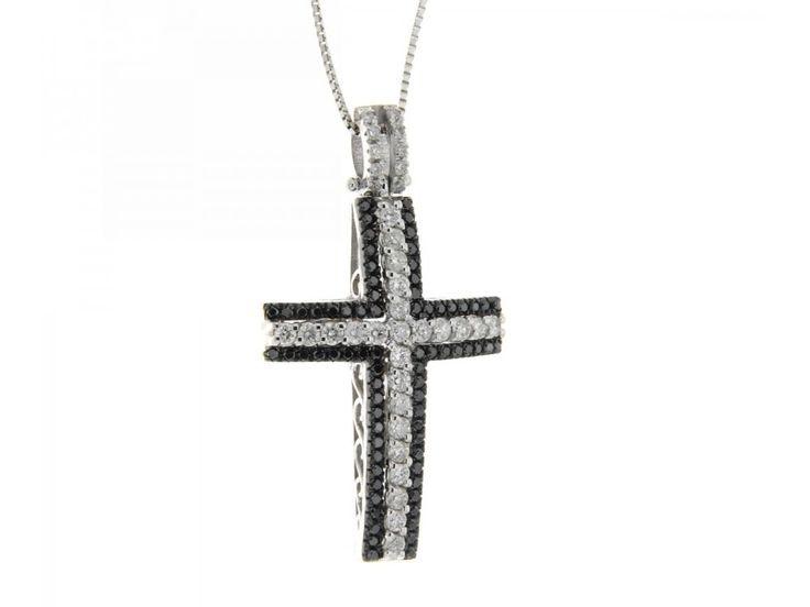 Collana croce in oro bianco con diamanti neri e diamanti carati 0,72 G-VS1