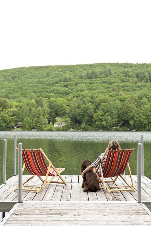 ".Just Perfect...I'm Loving This Meaning of ""Dock of the Bay""--Sling Back Chairs, Water, Sun, A Breezy, Warm Afternoon...Add Coffee & A Book...Paradise!!"
