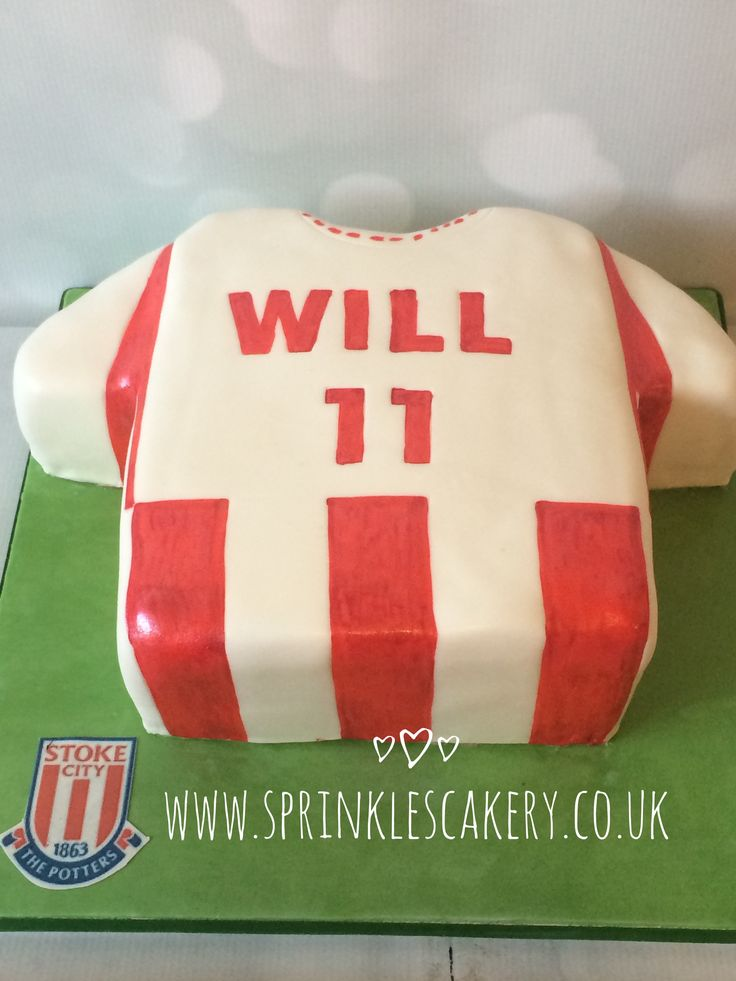 A football shirt style birthday cake for a Stoke City FC fan.