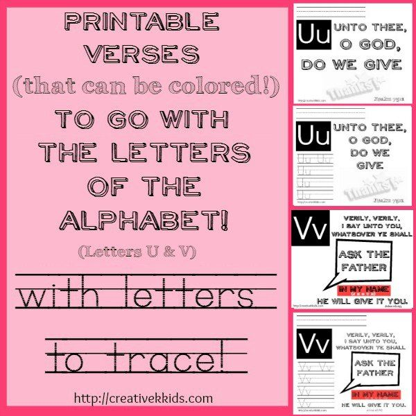 Here are some verse printables for the letters U & V. Some printables also have tracing practice for the letters U & V. Based on ABeka curriculum for K-5.