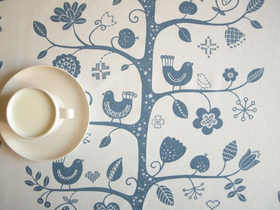 Tablecloth white blue birds on the tree Fagelsang Scandinavian Design , also runner , pillow , curtains available, great GIFT