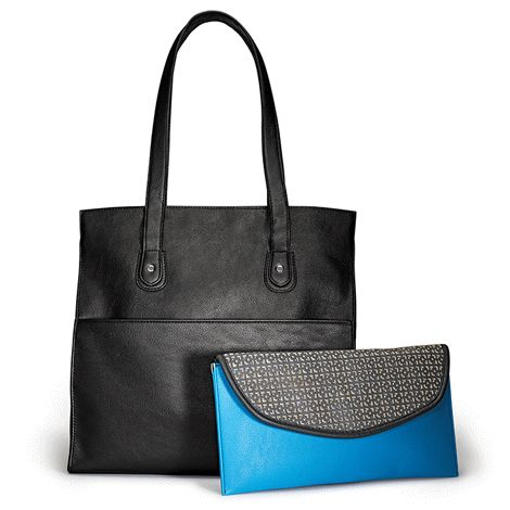 Tote: 34 cm H x 29 cm W x 10 cm D; handle drop, 24 cm. Features zipper closure, snaps to expand width, one inner zip and 2 slip pockets, and one outer zip pocket to hold the clutch. Clutch, 30 cm W x 15 cm H, has snap closure. Both bags are leather-like and fully lined.