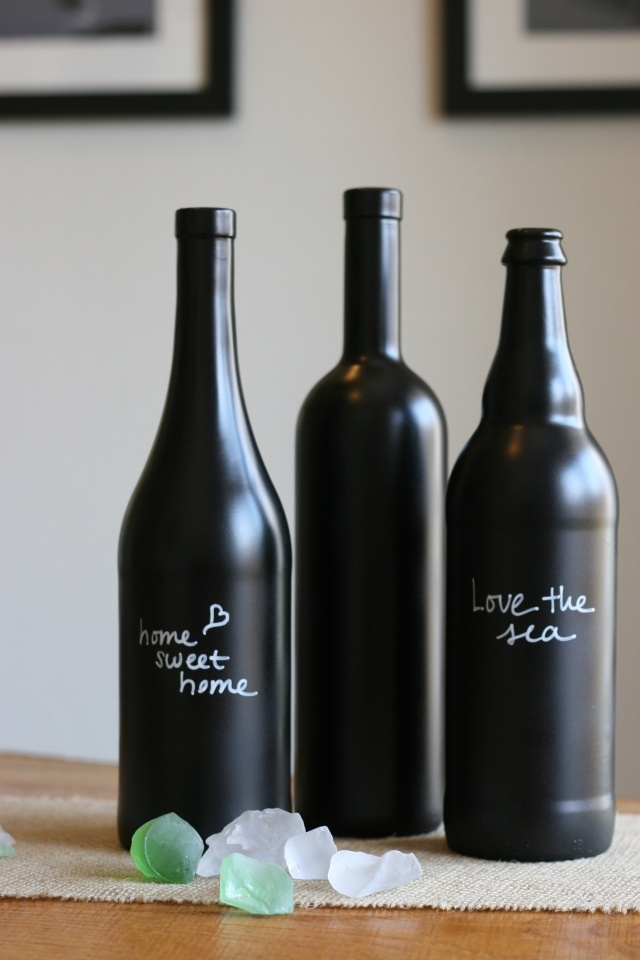DIY wine bottles...made with chalkboard paint.