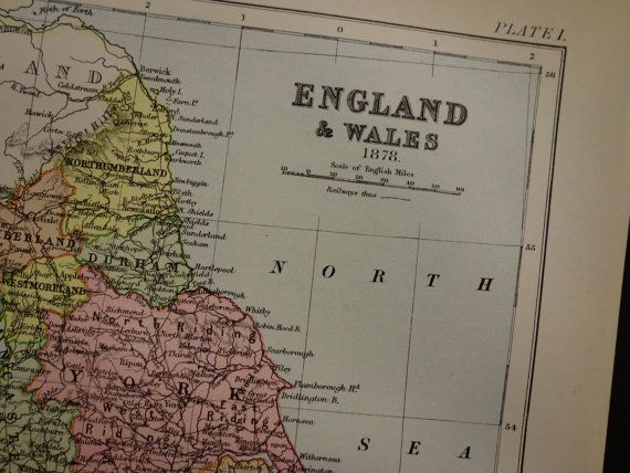 ENGLAND old map of England and Wales 1878 by DecorativePrints