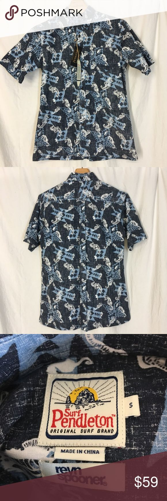 SURF PENDLETON REYN SPOONER Shirt Limited Small SURF PENDLETON REYN SPOONER Casual Hawaiian Shirt 2015 Limited Addition  Small Surf Pendleton original surf brand Ryan Spooner Hawaiian shirt seahorse pattern cowboy hat pattern new with tags retail price $119  Item measured laying flat measurement doubled when necessary   Chest 44 inches length shoulder to hem 29 inches Pendleton Shirts Casual Button Down Shirts