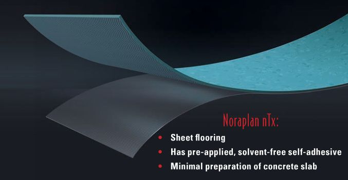 Noraplan nTx sheet flooring is said to cut flooring installation time by as much as 50% when compared with standard PVC sheet insulation. http://www.nxtbook.com/nxtbooks/cbp/201410/#/60