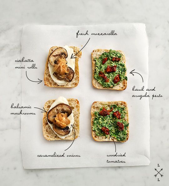 mini grilled cheese with mushrooms and pesto