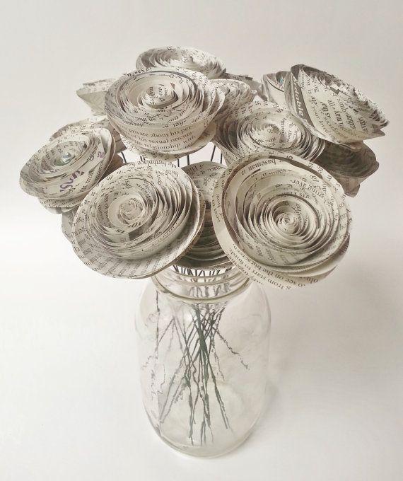 Paper Flower Bouquet -'Newspaper Flower Bouquet (12) - Handmade Rolled Paper Flower Bouquet for Brides, Weddings, Showers, Birthdays
