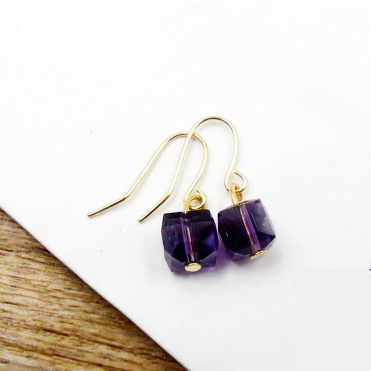 American Jewelry Minimalist Retro Square Glass Beads Amethyst Mini Small Sugar Earrings Ear Jewelry Female