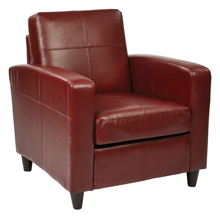 Ave Six Ave Six Venus Club Chair in Environmentally Friendly Crimson Red Bonded Leather & Solid Wood Legs