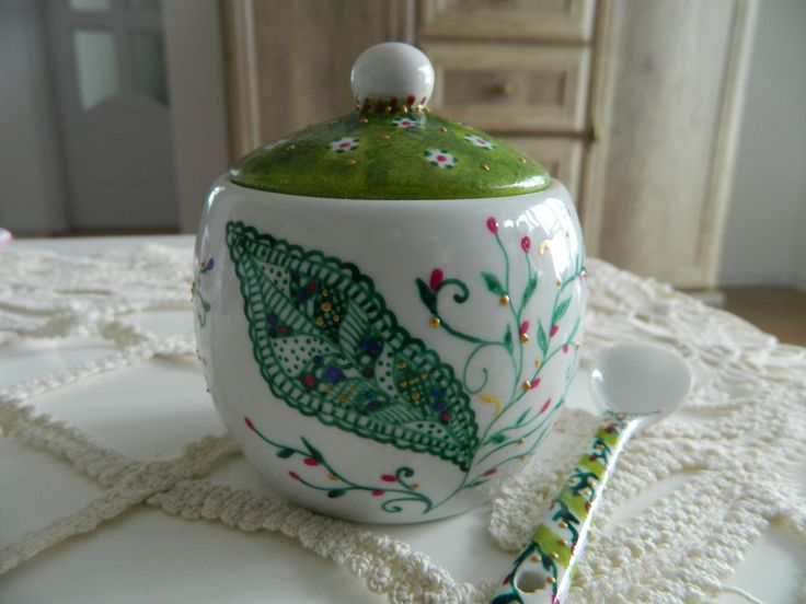 Hand painted by Handmade Sister - used to serve sugar.