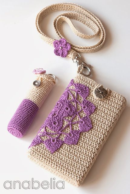 There are many awsome and beautiful crochet work on this blog, go and take a look ;-)  Crochet smartphone and lipstick covers by neckband by Anabelia