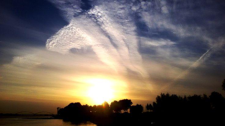 Sundown at the Riverside near the beach