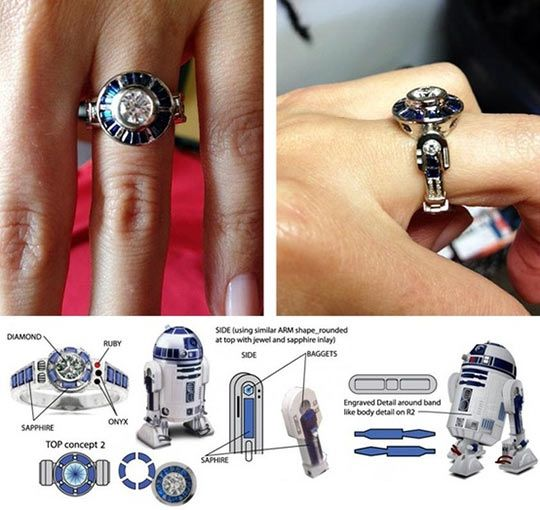 R2D2 engagement ring. I love this so much! I would be so much more excited to get this engagement ring rather than a big diamond. *hint hint* :D