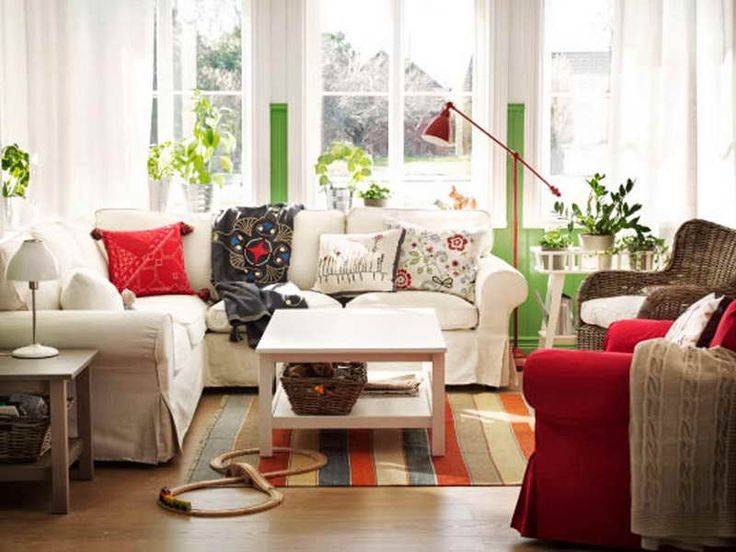 Elegant Wonderful Cottage Style Decorating Ideas For Your Residence: Cottage Style  Decorating With Red Accents 007. Living Room ...