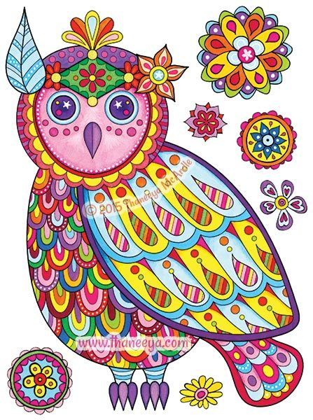 Owl From Free Spirit Coloring Book By Thaneeya McArdle