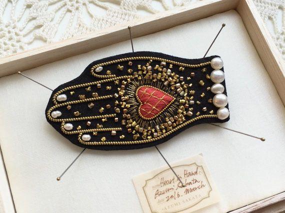 Azumi Sakata - heart in hand brooch
