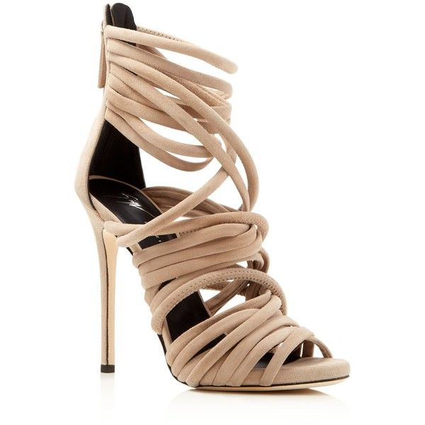 Giuseppe Zanotti Aline Strappy High Heel Sandals ($1,225) ❤ liked on Polyvore featuring shoes, sandals, beige, wrap sandals, strap heel sandals, strappy shoes, suede sandals and wrap around shoes
