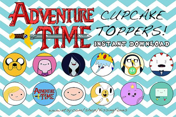 Adventure Time cupcake toppers / stickers / envelope seals / deco for your party/event! You may print on sticker paper or normal paper; its all up