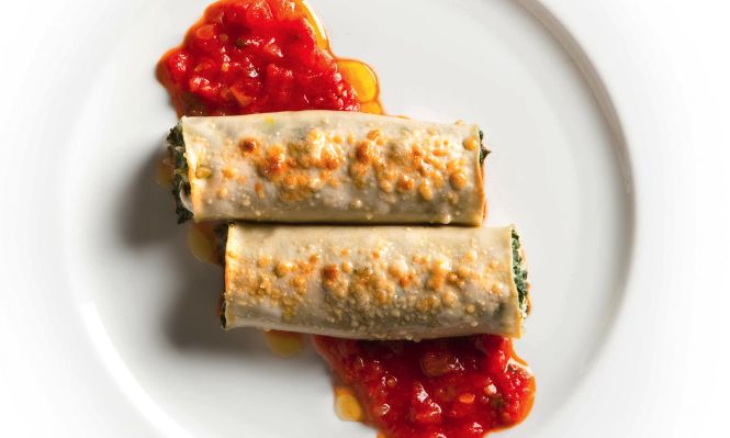 cannelloni are baked and filled with Swiss chard and fresh goat cheese ...