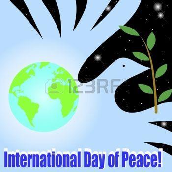 paz mundial: Día Internacional de la Paz. Globo y la paloma de la paz Vectores