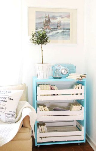 Instructions: Roll cart with drawers. German blog. Like the idea. Not sure if they roll out, or specifics. Just like the look.