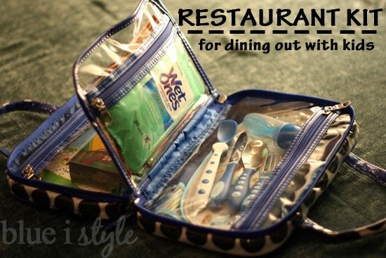 A make-up bag repurposed as a restaurant kit for dining out with kids. The blog has all the details on the contents for a 6 month old and 2 year old, plus suggestions for older kids. {blue i style}