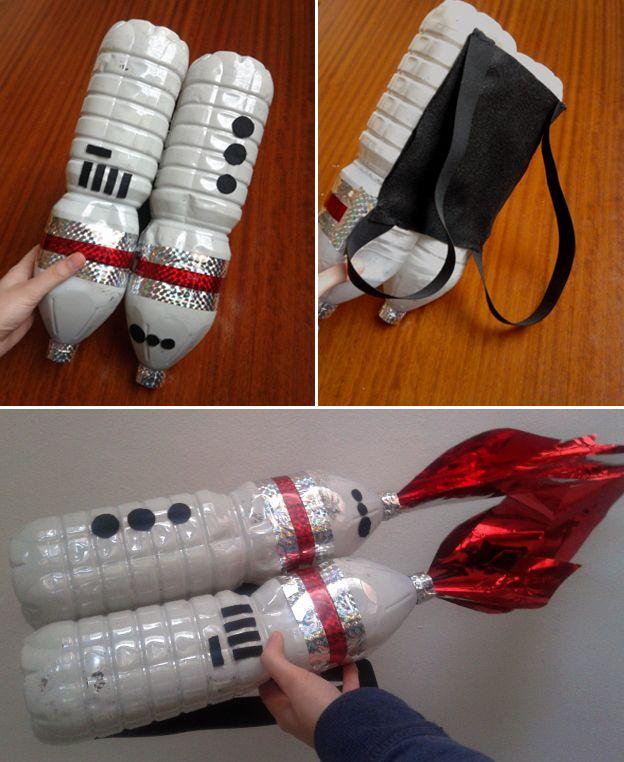 uno zainetto da astronauta dal riciclo di due bottiglie di plastica:decorato con nastro adesivo, stoffa e carta da pacchi!