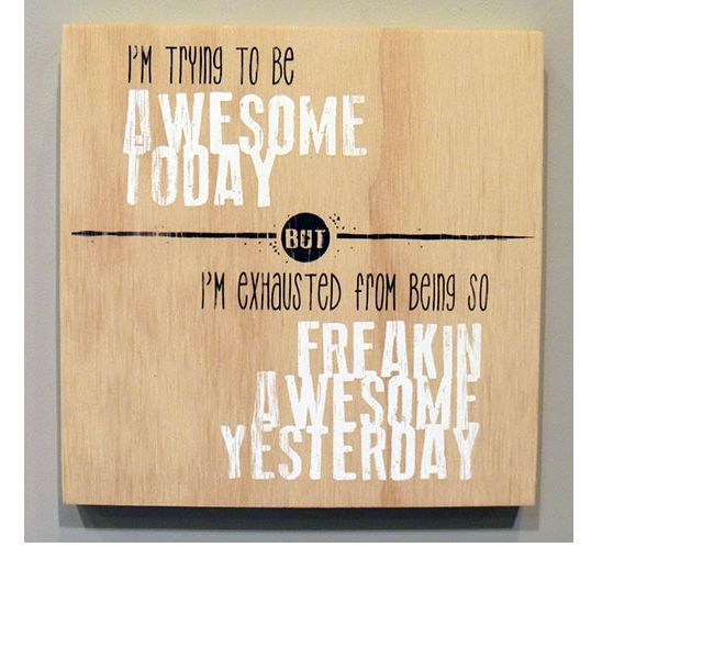 Screen printed plywood block - 'trying to be awesome' from New Zealand designer Arthaus Design.