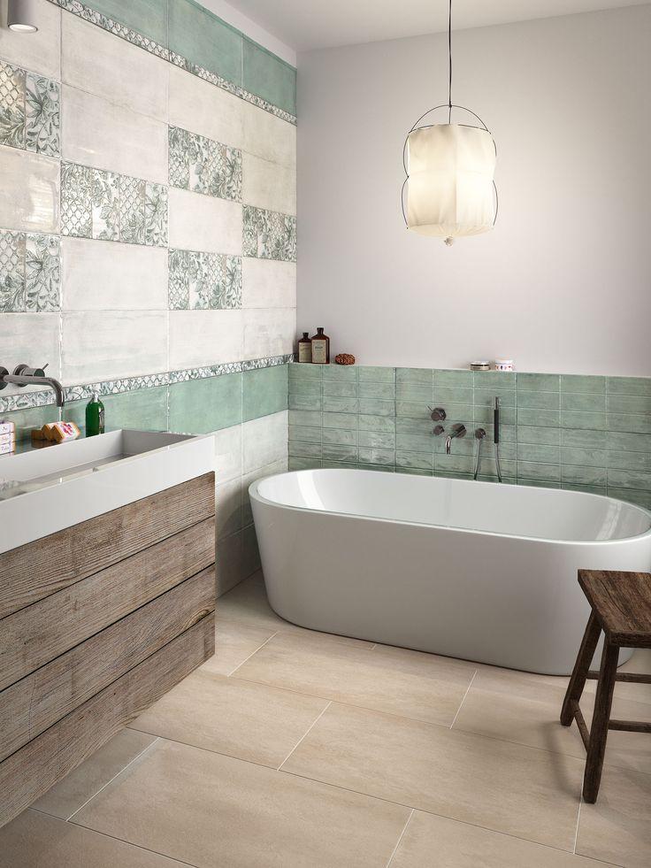 Bathroom be Unique Wall_ Beunique cipria lucido 25x60, Beunique Salvia lucido 25x60, decor maiolica salvia 25x60