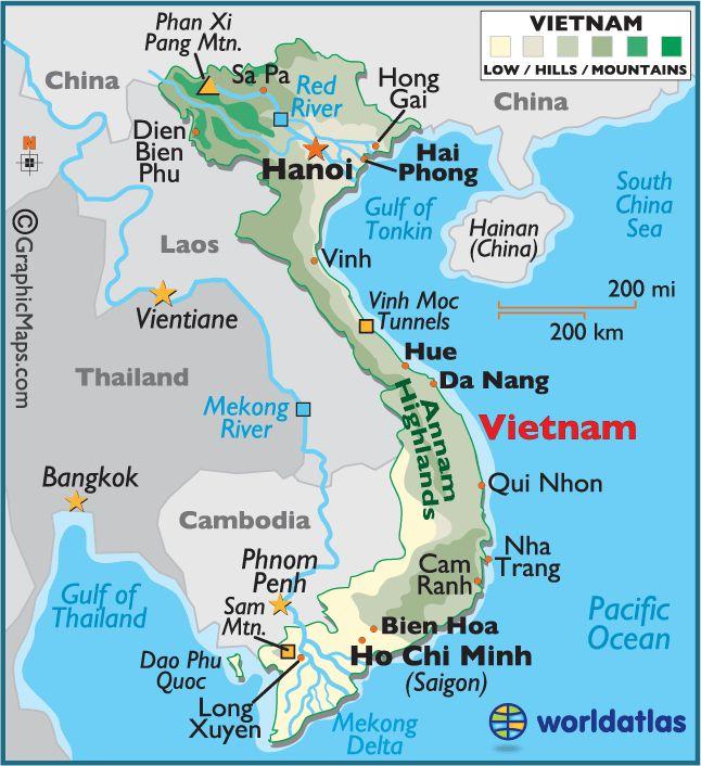 Vietnam Large Color Map