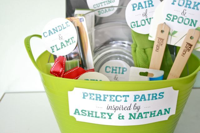 """""""Perfect Pairs"""": A bridal shower gift basket (with free printable!) 