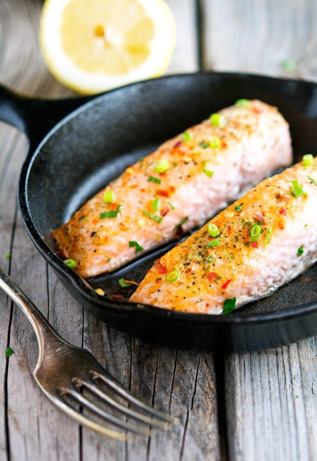 Easy Ginger, Chili and Lemon Salmon. Substitute the olive oil for Fry Light.  FREE.