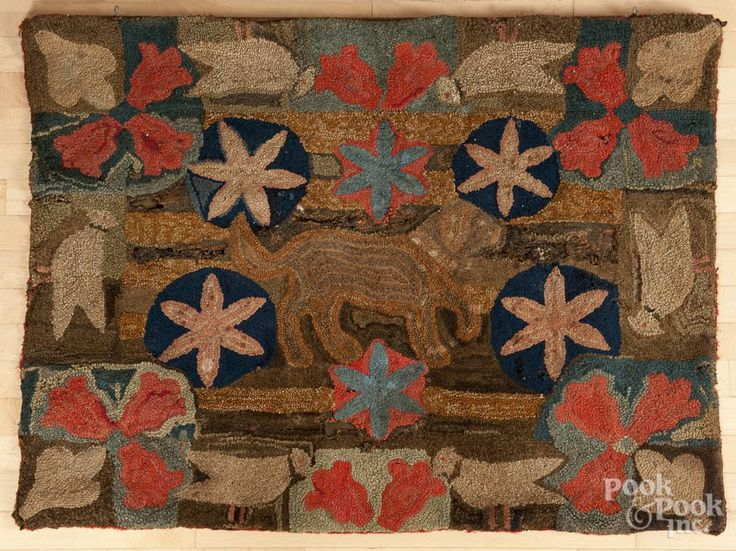 American hooked rug, mid 19th c.