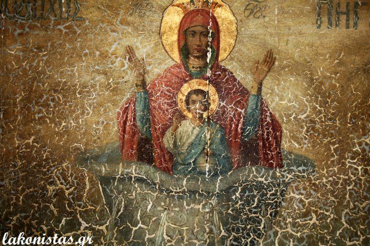 Byzantine icon of Zoodochos Pigi - Panagia. Orthodox church in Georgitsi, Lakonia, Greece