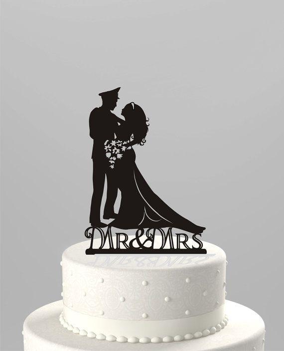 Wedding Cake Topper Silhouette Military Groom & Bride, Acrylic Cake Topper, Officer, Uniform[CT9m]