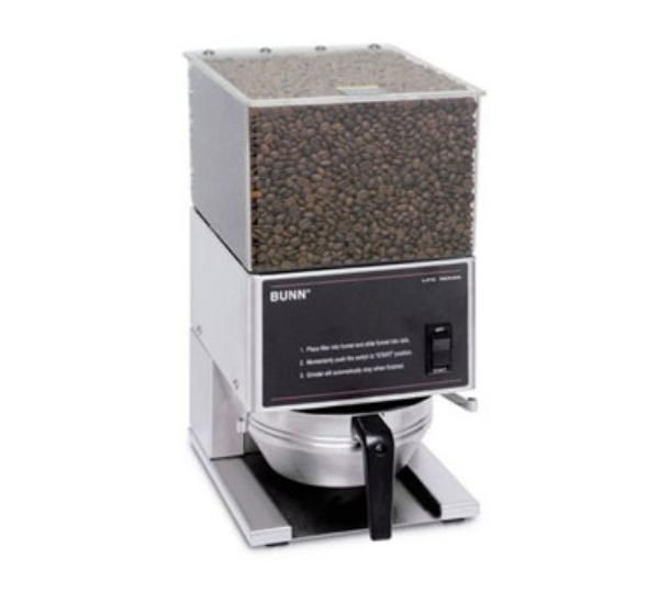 This Bunn-O-Matic low profile coffee grinder features one 6-pound capacity hopper and a portion grinder. Its high torque motor quietly powers large, professional grade burrs with 360 watts of power to grind 6-pounds of fresh coffee beans for exceptionally fresh coffee. This coffee grinder's large clear bean hopper provides easy visibility for merchandising your fresh coffee beans, while its durable stainless steel construction is easy to clean. http://www.katom.com/021-205800001.html