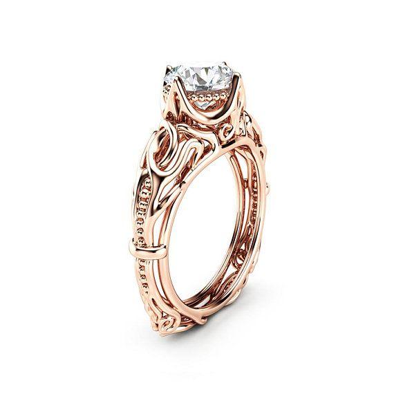 Vintage Engagement Ring 14k Rose Gold Filigree Ring Solitaire Etsy Vintage Engagement Rings Vintage Engagement Rings Unique Engagement Ring Gift