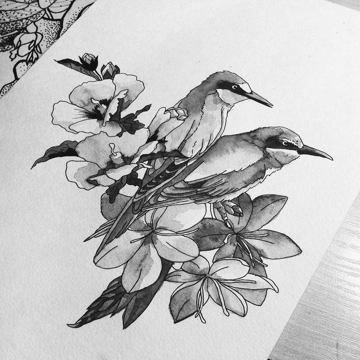 Акварелька дошла до птичек #эскиз #тату #татуировка #тлт #арт #акварель #птицы #цветы #чб #набросок #drawing #sketch #tattoo #art #tattooart #tatts #tattooer #handdrawn #blackandwhite #watercolor #birds #flower #birdtattoo #flowertattoo #drawingtattoo