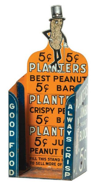 vintage 5¢ Planters Peanut Bar store display tin