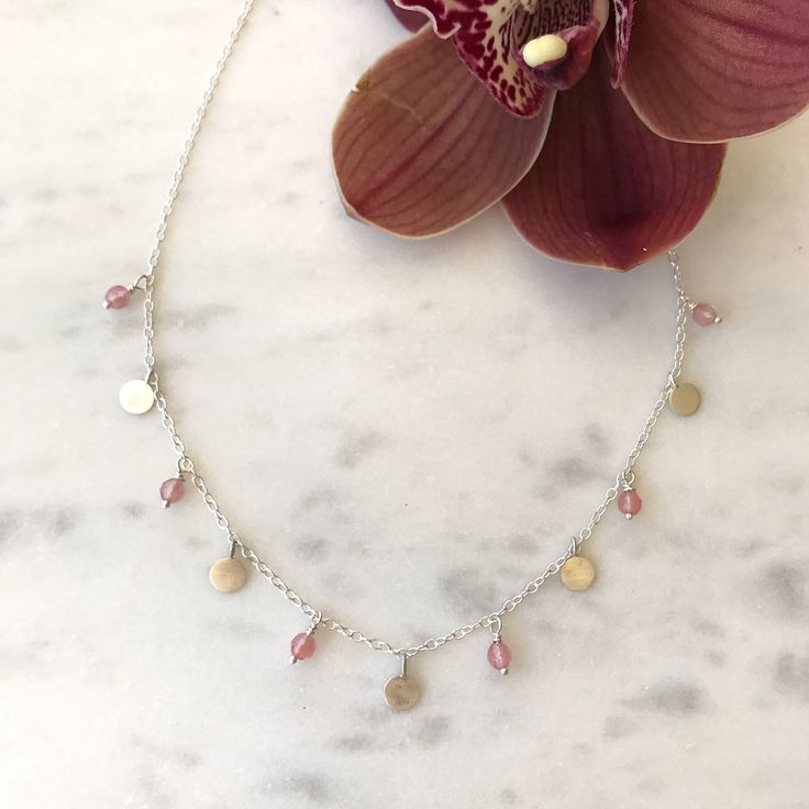 """24 Likes, 3 Comments - MARINA SAKER JEWELLERY (@marinasakerjewellery) on Instagram: """"So pretty 🌸 Yasmin Disk and Gemstone Necklace - strawberry quartz. This comes in a variety of…"""""""