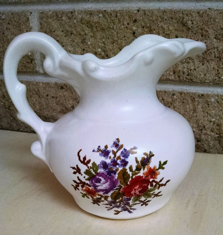 McCoy Ceramic Pitcher with Floral Needlepoint Design -Vintage by ClassyVintageGlass on Etsy