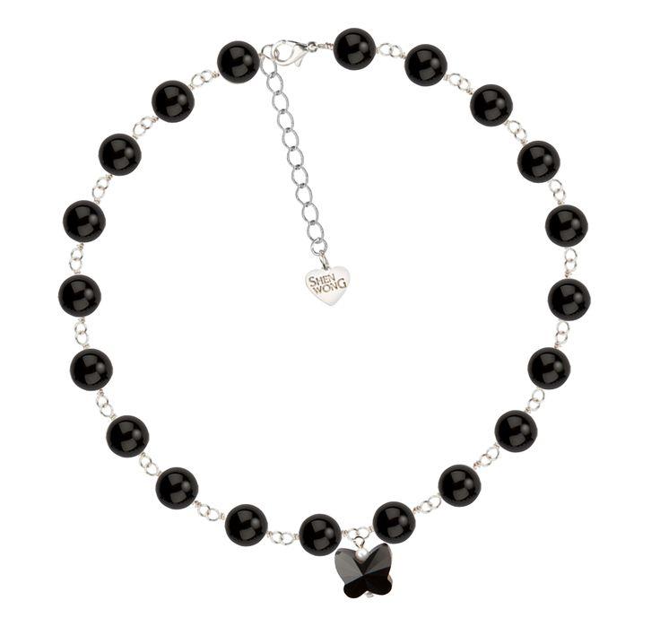 ShenWong - Black Butterfly Swarovski Crystal and Pearl Choker, €60.00 (http://shenwong.com/black-butterfly-swarovski-crystal-and-pearl-choker/)