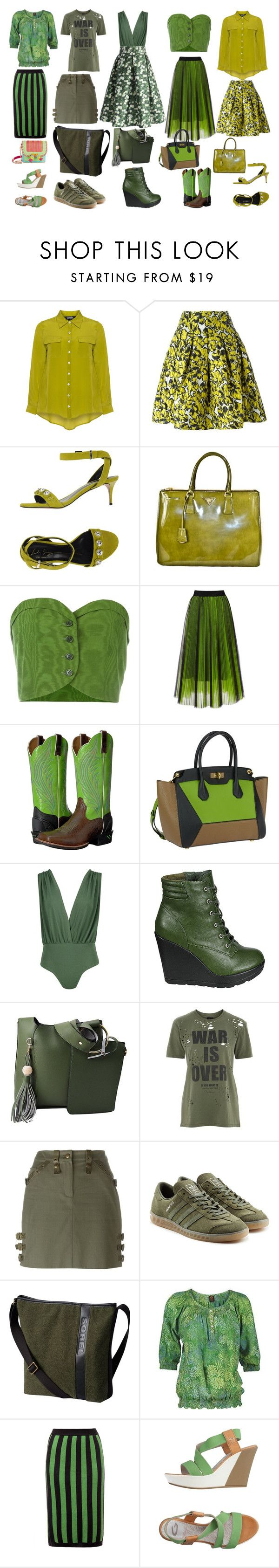 """Earth Rules"" by quinn-avina ❤ liked on Polyvore featuring navabi, Oscar de la Renta, Lola Cruz, Prada, Romeo Gigli, MSGM, Ariat, Bally, Boohoo and Breckelle's"