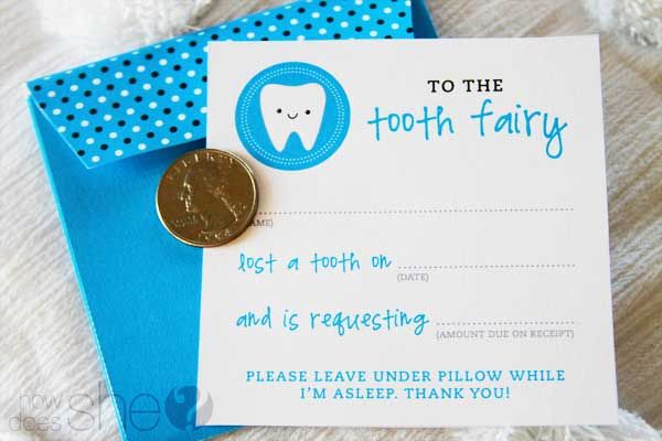 Free tooth fairy printables to put under pillow.. Adorable!
