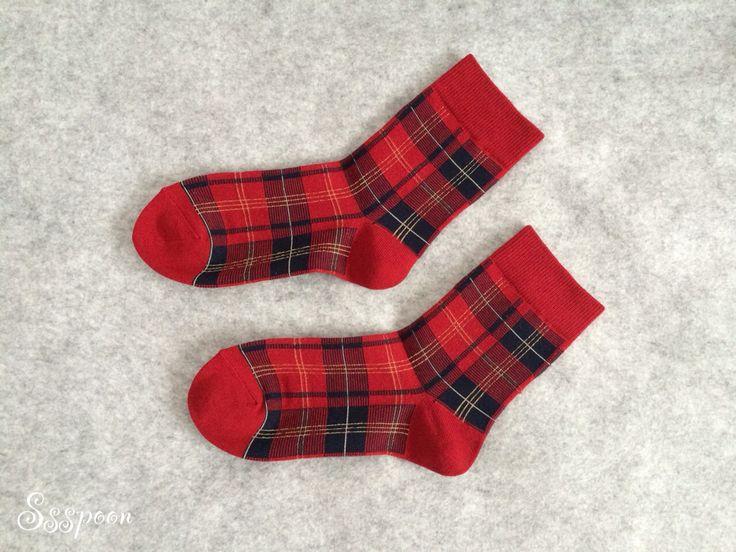 Red check pattern socks!!