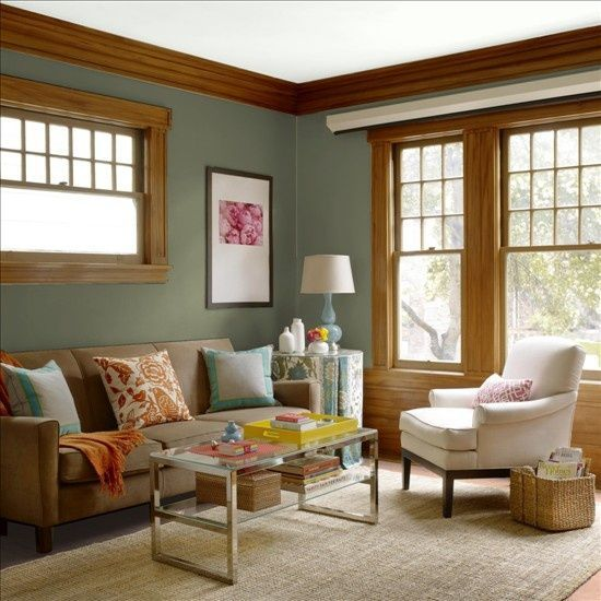 21 best paint with cherry trim images on pinterest dark - Sage green living room ...
