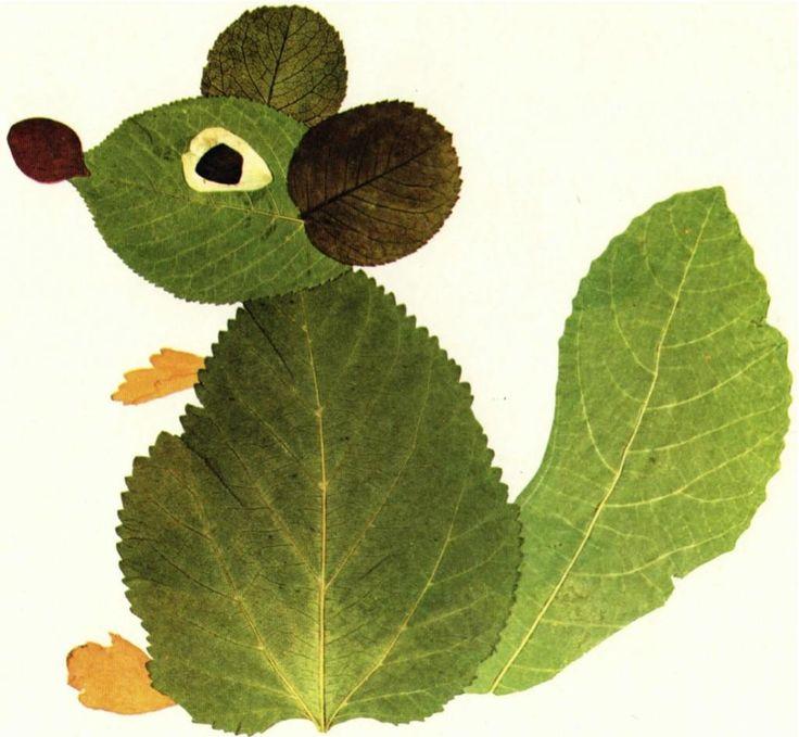 Un topolino creativo: fatto di foglie